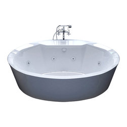 Venzi - Venzi Sole 34 x 68 Oval Freestanding Air & Whirlpool Water Jetted Bathtub - The Sole series features contemporary oval design. The increased interior depth allows bathers to enjoy the true deep soak, turning each bathing session into an unforgettable experience.