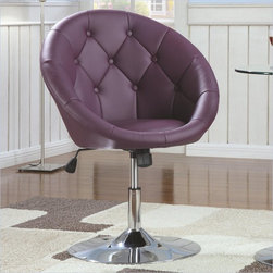 Coaster Round Tufted Swivel Chair, Purple - This cool and funky tufted chair is perfect for a teenager's room.