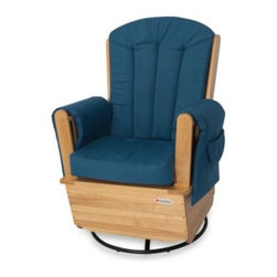 Foundations - Foundations SafeRocker SS Swivel Glider Rocker in Natural/Blue - Nurse or snuggle with baby in plush, versatile comfort with the SafeRocker SS Swivel Glider Rocker from Foundations.