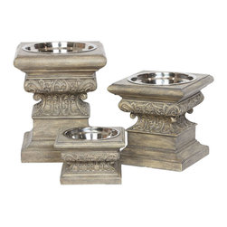 Unleashed Life - Adour - Medium  Feeder - Statuary finds function in the Adour Raised Feeder. The dish is made of cast resin and is embellished with scroll work detail in an aged stone finish.
