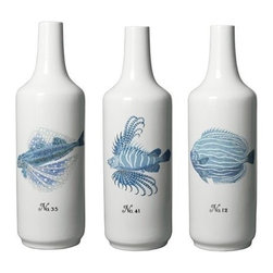 "Two's Company - Set of 3 Blue Coral Fish White Vases - Features:Material: Porcelain.-Hand-painted. Dimensions:Overall Dimensions: 26.25"" H x 8"" W. Collection:La Mer collection. Hand painted porcelain set of three oversized vases featuring intricately detailed portraits of various reef fish. These pieces are striking enough in their delicate beauty to be the center of attention atop a mantle or in a lighted case, though no matter where their placement, their presence will leave an impression."