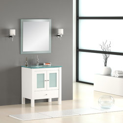 "30"" Modern Bathroom Vanity - The Monaco 30"" bathroom vanity is a vanguardist style that soothes and balances neutral spaces. The frosted tones radiate a feeling of fluidity that enhances design harmony. It will be the ideal focal point for a contemporary bathroom."