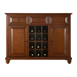 Crosley Furniture - Cambridge Buffet Server / Sideboard Cabinet w - Beautiful Raised Panel Doors. Antique Brass Finish Hardware. Removable Wine Storage Panels Reveal Additional Open Storage. Adjustable Shelf Behind Each Door and in Center Section. Adjustable Levelers in. Legs. Three Deep Drawers with Raised Panel Fronts. Solid Hardwood & Veneer Construction. 36 in. H x 47.75 in. W x 18 in. D (128 lbs.)Constructed of solid hardwood and wood veneers, this Buffet Server / Sideboard Cabinet is designed for longevity. The beautiful raised panel doors & drawers, provide the ultimate in style to dress up your home. The three deep drawers provide an abundance of storage space. Behind the two doors, you will find adjustable shelves and storage space for things that you prefer to be out of sight. The center storage area is great for up to 12 bottles of wine, or if you prefer, remove the wine storage cubes to reveal an adjustable shelf. Style, function, and quality make this Buffet Server a wise addition to your home.