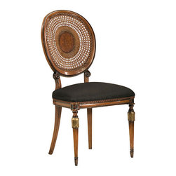 "Inviting Home - Louis XVI Style Chair - Louis XVI style beechwood side chair with hand-caned backy; overall dimensions: 20""W x 19""D x 39-3/4""H; seat: 20""W x 19""D x 20""H; back: 39-3/4""H; hand-made in Italy; Louis XVI style beech wood chairs with hand-caned backs hand-rubbed antiqued walnut finish antiqued silver leaf accents. Chairs have black muslin upholstery. These carved wood chairs are hand-crafted in Italy."