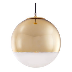 Sphere Pendant Lamp in Gold - Clean, simple style combined with a clear spherical form, this chrome pendant lamp speaks the art-meets-industry language of German Modernism. Gleaming gold lends living art in this light piece, which adds an understated air of glamor and elegance to any home. The lamp's bulb projects a soft cone of light, and the mirror finish on the lamp's exterior bounces the light back around the room.