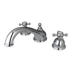 """Kingston Brass - Kingston Brass Polished Chrome Vintage Two Handle Roman Tub Filler KS3351BX - Solid brass construction for durability and reliability, Premium color finish resists tarnishing and corrosion, 13.0 GPM at 60 PSI, 8 1/2"""" spout reach, 5 1/2"""" spout height, 3 1/4"""" spout clearance, 3/4""""-14NPS, 1/4 turn ceramic disc cartridge, 8""""-36"""" widespread installation, Ten year limited warranty.. Manufacturer: Kingston Brass. Model: KS3351BX. UPC: 663370073205. Product Name: Two Handle Roman Tub Filler. Collection / Series: Vintage. Finish: Polished Chrome. Theme: Classic. Material: Brass. Type: Faucet. Features: Drip-free ceramic cartridge"""