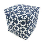 Majestic Home - Outdoor Navy Blue Links Small Cube - Versatile, casual and fun, beanbag ottoman cubes are great to have around the house for all kinds of impromptu uses, from footstools to extra seating to side tables. With its playful modern style and durable, washable cover, this small patterned cube should work for you just about anywhere you need it, indoors or out. You'll wonder what you ever did without it.