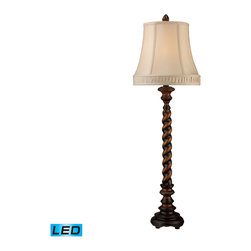 Dimond Lighting - Dimond Lighting D1758-LED Rye Park 1 Light Table Lamps in Sienna Bronze Wood - Rye Park Table Lamp In Sienna Bronze Wood With Cream Shantung Shade And Cream Liner- LED Offering Up To 800 Lumens (60 Watt Equivalent) With Three Way Capabilty. Includes An Easily Replaceable LED Bulb (120V)