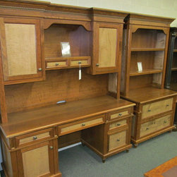 Bridgeport Credenza with Hutch, Lateral File with Hutch - Cherry with Curly Maple Panels