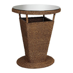 """Lamps Plus - Coastal Sahara Maize Outdoor Bar Table - Natural maize rope outdoor bar table. Clear glass top. Round base. Metal and wood frame. 40 1/2"""" high. 33"""" wide.  Natural maize rope outdoor bar table.  Clear glass top.  Round base.  Metal and wood frame.  Some assembly required.  40 1/2"""" high.  33"""" wide."""
