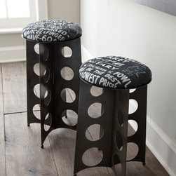 """Horchow - Graffiti Tower Counter Stool - Industrial-style stools are handmade from reclaimed metal with graffiti-print linen seating. Imported. Barstool, 16""""Dia. x 29""""T with 14""""Dia. seat. Counter stool, 16""""Dia. x 25""""T with 14""""Dia. seat."""