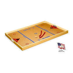 Carrom - Classic Nok-Hockey Large Game Board in Natural Finish - Includes 2 hardwood pucks and 2 plastic hockey sticks. Solid 0.75 in. thick wood frame. Solid wood corner reinforcements. 0.125 in. Thick hardboard playing surface with two color screen printed graphics using lead-free ink. Solid wood goal zone obstacles. For ages 6 and above. Made in USA. No assembly required. 48.88 in L. x 35.06 in. W x 2.69 in. H (18 lbs.)If the standard NOK-HOCKEY® Board is not quite big enough for you to show off your incredible hand-hockey skills, then try this board, it's bigger!