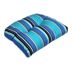 Comfort Classics Sunbrella Wicker Seat Cushion - 20 x 18 x 4.5 in. - Plump up patio seating with the Comfort Classics Sunbrella Wicker Seat Cushion - 20 x 18 x 4.5 in.. Crafted with durable quick-dry Sunbrella fabric, this plush cushion boasts a rounded waterfall edge, lofty tufting, secure string ties, and a brightly striped motif in your choice of many signature Sunbrella colorways.