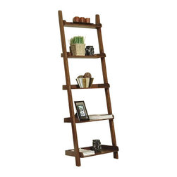 "Coaster - Ladder Bookcase (Rich Mahogany) By Coaster - Five spacious storage shelves. 26 "" W x 14 "" D x 77 "" H.  This lovely bookcase will add a casual look to your home. Offering convenient storage and display space for your living room, hallway or home office. This piece is sure to complement your decor. Ideal for books, framed photos and your favorite decorative accent items. Use one, or as many as you like for a custom solution to fit your space."