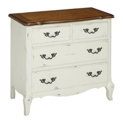 HomeStyles - Oak and Rubbed White Drawer Chest - The drawer chest is constructed of hardwood solids, engineered wood and oak veneers in a distressed oak and heavily rubbed white finish. The distressed oak features several distressing techniques such as worm holes, fly specking, and small indentations. Features include four storage drawers (top two drawers are split drawers), and top drawers are felt-lined. Design features include shaped carved proud legs, raised corner peg accents, and detailed brass hardware. Assembly required. 36 in. W x 18.5 in. D x 32 in. H