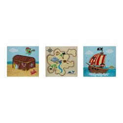 Fantasy Fields - Fantasy Fields Pirates Island Wooden Wall Art Set Brown - TD-11633A - Shop for Wall Decorations from Hayneedle.com! Set sail on a voyage of imagination with the Fantasy Fields Pirates Island Wooden Wall Art Set. This nautical wall art collection quickly turns any room into an adventurous high-seas hideout. Includes a map marking the locations of buried treasure a pirate ship with friendly and boisterious mateys and a treasure chest holding riches untold! Crafted with MDF and non-toxic paints.About Teamson DesignBased in Edgewood N.Y. Teamson Design Corporation is a wholesale gift and furniture company that specializes in handmade and hand-painted kid-themed furniture collections and occasional home accents. In business since 1997 Teamson continues to inspire homes with creative and colorful furniture.