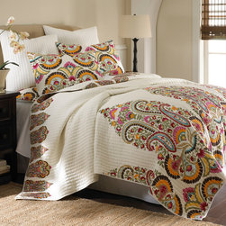 None - Windsong 3-piece Cotton Quilt Set - This vibrant paisley quilt set is a great way to overhaul your bedroom aesthetic without breaking the budget. Each package includes a beautifully patterned quilt and two shams, all made out of 100 percent soft cotton for comfort and durability.