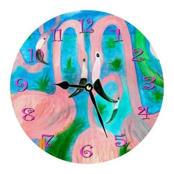 usa - Flaming Party Wall Clock - Enjoy passing time with my art work on a beautiful 11.25'' hard board clock with a wonderful glossy finish. Clocks are a durable 1/4 '' thick and require a AA battery not included. Made in the USA.