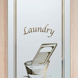 """Laundry Room Door - Washboard - CUSTOMIZE YOUR GLASS LAUNDRY ROOM DOOR DOOR!  Glass Laundry Doors and laundry door inserts!  Highest quality and largest selection of frosted glass laundry room doors available anywhere!  Shipping is just $99 to most states, $159 to some East coast regions, custom packed and fully insured with a 1-4 day transit time.  Available any size, as laundry door glass insert only or pre-installed in a door frame, with 8 wood types available.  ETA for laundry doors will vary from 3-8 weeks depending on glass & door type.........Lighten your load with a beautiful obscure, decorative glass laundry room door by Sans Soucie!   Select from dozens of frosted glass designs, borders and letter styles!   Sans Soucie creates their laundry door obscure glass designs thru sandblasting the glass in different ways which create not only different effects, but different levels in price.    The """"same design, done different"""" - with no limit to design, there's something for every decor, regardless of style.  Inside our fun, easy to use online Glass and Door Designer at sanssoucie.com, you'll get instant pricing on everything as YOU customize your door and the glass, just the way YOU want it, to compliment and coordinate with your decor.  When you're all finished designing, you can place your order right there online!  Glass and doors ship worldwide, custom packed in-house, fully insured via UPS Freight.   Glass is sandblast frosted or etched and pantry door designs are available in 3 effects:   Solid frost, 2D surface etched or 3D carved. Visit our site to learn more!"""