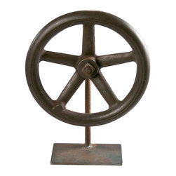 Salvatecture Studio - Vintage Rustic Wheel On Iron Stand 4 - There's no irony in this decorative vintage wheel, just iron. Whether you are reaching for rustic or in need of industrial, this antique piece is sure to please.