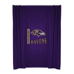 Sports Coverage - NFL Baltimore Ravens Football Locker Room Shower Curtain - Features: