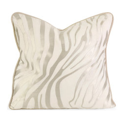 IK Bahari Taupe Embroidered Linen Pillow w/ Down Fill - Iffat Khan has developed a luxurious collection of down pillows with embroidered details and top of the line fabrics. Iffats refined aesthetic is evident in her collection which combines clean modern, classic casual and timeless traditional styles with her own creative twist.