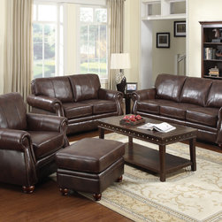 None - At Home Designs Monterey 4-piece Room Group in Natural Brown Leather - You can see the attention to detail put into this Monterey room group with French welt accents,elongated stitching and rolled arms.