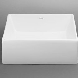 Ronbow Square Ceramic Vessel Sink without Overflow in White 200033-WH -