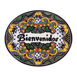 Native Trails - Tile 'Bienvenidos' Plaque in Zinnia, Large - Put out the welcome plaque! This large, handmade tile is rendered in colorful warm hues to make your guests feel right at home.