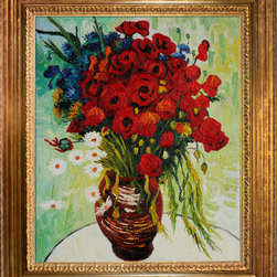 """overstockArt.com - Van Gogh - Vase with Daisies and Poppies Oil Painting Oil Painting - 20"""" x 24"""" Oil Painting On Canvas Vase with Daisies and Poppies was painted during the summer and fall months in Paris during 1886. Very typical of his post-Impressionist work at this time, this floral painting features a gorgeous colorful display of vibrantly red poppies and white daisies coupled with blue flowers and greenery in a brown vase. Even though he painted a variety of cheerful subjects, his mental state was oftentimes troubled and desperate. Our artists have recreated this beautiful Van Gogh piece by hand so you can enjoy it in your own home. Display it in your own house to brighten up any room. Choose from our museum-quality frames that accentuate the painting and turn it from a painting into a gallery-worthy piece."""