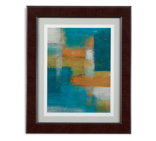 Bassett Mirror - Bassett Mirror Framed Under Glass Art, Blues Before Dawn I - Achieve a modern look with this bold print painted in shades of bright orange, deep blue and white. Set under glass in an espresso frame, this piece makes a striking focal point in any bedroom or living room. Hang it on its own or pair it with its sister piece, Blues Before Dawn II.