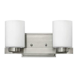 Hinkley - Hinkley 5052BN Miley 2 Light Bathroom Fixture in Brushed Nickel 5052BN - 2 Light Bathroom Fixture.With white etched glass, cast stepped back plate and cast glass holders G9 Halogen Bulb (included)Back Plate Height: 4-1 2 Back Plate Width: 6-1 2 Bulb Type: Halogen Certification: c-UL-us Damp Collection: Miley Energy Star Compliant: No Extension: 5-1 2 Finish: Brushed Nickel Glass: Etched Opal Glass Height: 6 Light Direction: Up Down Lighting Max Wattage: 60 Number of Lights: 2 Shade Shape: Cylinder Socket 1 Base: G-9 Socket 1 Max Wattage: 60 Style: Contemporary Modern Suggested Room Fit: Bathroom, Bedroom TTO: 3-3 4 Voltage: 120 Weight: 4.14 Width: 13