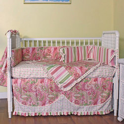 Hoohobbers - Hoohobbers Paisley 4 Piece Crib Bedding Set Multicolor - 280-01 - Shop for Bedding Sets from Hayneedle.com! The Hoohobbers Paisley 4 Piece Crib Bedding Set is as unique as your little girl. A bold combination of complementary patterned cotton fabrics will delight and engage your daughter. Daring paisley soothing stripes and fun polka dots coordinate in bright pink green and white for a distinctive look that is fun and feminine. Turn your baby's room into a designer nursery with this four-piece set which includes safety bumpers sheet blanket and dust ruffle to completely deck out your baby's bed.Swaddle your little one in the warmth of the double-sided blanket which features designer fabric on one side and soft 100% cotton flannel on the other. The bumpers are made duvet-style meaning that their inserts can be removed before washing to help them retain their shape. The dust ruffle has an 18-inch drop so you can use the space underneath the crib for out-of-sight storage. All the bedding is machine-washable and will hold up to frequent launderings.About HoohobbersBased in Chicago Hoohobbers has designed and manufactured its own line of products since 1981 beginning with the now-classic junior director's chair. Hoohobbers makes both hard goods (furniture) and soft goods. Hoohobbers' hard goods are not your typical furniture products; they fold are lightweight and portable and are made to be carried by children all around the house. Even outdoors Hoohobbers' hard goods are 100 percent water-safe. At the same time they are plenty durable and can take the abuse children often give. Hoohobbers' soft goods are fabric items ranging from bibs to bedding from art smocks to Moses baskets.Hoohobbers' products are recognized by independent third parties for their quality and performance. Hoohobbers has received Best Design Awards from America's Juvenile Products Association each time selected from more than 20 000 products. Hoohobbers has also received the Parents' Ch