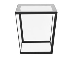 Iacoli & McAllister - Frame Side Table, Black/Smoked - Sometimes the best way to make a statement is with understatement. Take this gloriously minimalist side table, for instance. The flared base is fashioned from metal and topped with a sheet of tempered glass that rests upon a discreet ash frame, for an extra dollop of warmth. Simple, yes — but also simply stunning.