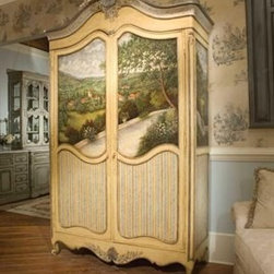 """Habersham - Habersham Summer Villa Armoire - It all started in the small North Georgia town of Clarkesville. It was 1969 and Habersham founder Joyce Eddy had just been given the chance to operate a small antique shop located above an old laundromat. This was just the opportunity a woman of Joyce's vision and energy would turn into the perfect blend of utility artistry and soul. Looking for ways to make her antique business more profitable she began crafting small decorative purses from vintage wooden cigar boxes. They were totally unique and they were an instant hit. Joyce named her new venture Habersham Plantation after Georgia's Habersham County and the plantations for which the area was known. The ideas just kept coming. One day Joyce was driving by a local textile company and spotted a large pile of old discarded wooden spools. Those spools were soon crafted into candleholders towel racks and folk art items. With the help of her sons and other family members Joyce expanded Habersham's offerings to include handcrafted furniture reflecting the American Country designs of the early 17th and 18th centuries. As word spread and production demands grew Joyce enlisted the help of woodworkers from her North Georgia region. This area had been a center for cabinetmaking since the early 1800s and the master craftsmen were well-schooled in the time-tested woodworking and joinery techniques that matched Joyce's sense of style and function. She even designed her factory to work just as the 18th century cabinetmakers did with individual artisans hand-finishing signing and dating each piece of furniture they crafted. Today Habersham still leads the way in the fine art of furniture design. So much so that in addition to their product line a new """"whole home"""" concept is finding its way into some of the finest dwellings in the country. Custom kitchen bath and other cabinetry designs offer rich opulent finishes and blend seamlessly with rooms of casual elegance all enhancing today's """