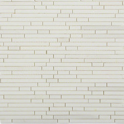 Torpedo White Thassos Marble Mosaic Tile - Torpedo White Thassos Marble Tile    This marble mosaic will provide endless design possibilities from contemporary to classic. It creates a great focal point to suit a variety of settings. The mesh backing not only simplifies installation, it also allows the tiles to be separated which adds to their design flexibility.