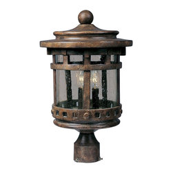 Maxim Lighting - Maxim Lighting Santa Barbara DC Traditional Outdoor Post Lantern Light X-ESDC631 - From the Santa Barbara Collection, this Maxim Lighting outdoor post lantern light focuses on mission influencing, giving it a unique look that is sure to please. The die cast aluminum frame of this post light has been molded to create a cylindrical shape with the fine details highlighted by a Sienna finish, pulling the look together.