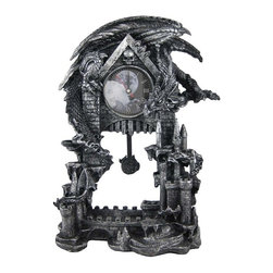 Evil Dragon Pentagram Pendulum Mantel Clock - Made of cold cast resin, this incredibly cool battery powered desk or mantel clock features a pentagram pendulum and has an evil looking dragon perched atop it. The clock face has an clouded full moon graphic, black hands and white markers. It measures 13 1/4 inches tall, 9 inches wide and 4 1/2 inches deep. It runs on one AA battery (not included). This wall clock is BRAND NEW, never used, and makes a great gift for any fan of the macabre.