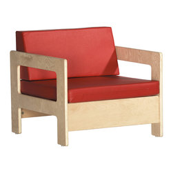 """Ecr4kids - Ecr4Kids Children Kidsroom Playroom Birch Hardwood Chair Red Cushions - A comfortable and cozy chair that's just my size! Durable birch chair ideal for providing a quiet spot to read. Chairs feature cushions filled with thick 2"""" foam for comfort and support."""