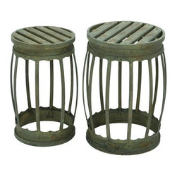 "Benzara - Barrel Shaped Metal Stool with Greenish Finish- Set of 2 - Barrel Shaped Metal Stool with Greenish Finish- Set of 2. Carved to impress with its design, this metal stool - Set of 2 will make a style statement in your room when accompanied by the proper home settings. It is available in 2 size variants - 18""H x 12""W x 12""D, 19""H x 14""W x 14""D."