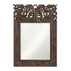 Howard Elliott Oakvale Mirror - This rectangular mirror features a frame carved with a lovely leaf design reaching up to an ornate open work tree design. The piece is finished with an antique French brown and highlighted with gold accents.