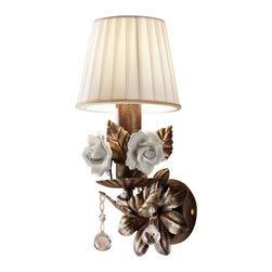 """Masiero - Masiero 6190/6195 Wall Sconce - The 6190/6195 Wall Sconce is part of a collection of High End light fixtures designed by Studio Stile Masiero in Italy for Masiero. This wall lamp is a beautiful and harmonious piece that brings to classicism and modernism a new perspective. 6160/6195 wall lamp is an elegant light fixture available in two sizes consisting of a structure in gold plated or white painted metal with gold brush strokes decorated with leaves and Bassano ceramic hand-painted roses. Multiple branches sustain candle lights and lampshades in ivory ponge and different sized crystals are hanging downwards from each branch. A stylish and contemporary wall sconce that will light up and will bring an air of freshness to any environment. Illumination is provided by E14 40W Incandescent bulb (not included).      Product Details: The 6190/6195  Wall Sconce is part of a collection of High End light fixtures designed by Studio Stile Masiero  in Italy for Masiero. This wall lamp is a beautiful and harmonious piece that brings to classicism and modernism a new perspective. 6160/6195 wall lamp is an elegant light fixture available in two sizes consisting of a structure in gold plated or white painted metal with gold brush strokes decorated with leaves and Bassano ceramic hand-painted roses. Multiple branches sustain candle lights and lampshades in ivory ponge and different sized crystals are hanging downwards from each branch. A stylish and contemporary wall sconce that will light up  and will bring an air of freshness to any environment. Illumination  is provided by   E14 40W Incandescent    bulb (not included). Details:                         Manufacturer:            Masiero                            Designer:            Studio Stile Masiero                            Made in:            Italy                            Dimensions:                        Small: A1: Height: 11.8""""(30cm) X Length: 5.9""""(15cm) X Depth: 5.9""""(15cm)             Large: A2: Height: 11""""("""