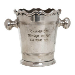 """Consigned Mid-Century Trophy Cooler - Very fine and well made trophy cooler dated 1972. Inscribed, """"Champion Tropicana Tri-Play Las Vegas."""" Excellent condition."""