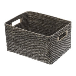 "KOUBOO - Rectangular Rattan Storage Basket, Black Antique - This hand-woven rattan utility basket is done ""Hapao style,"" meaning a tight, intricate weave initially created in the Philippines to ensure durability and beautiful longevity. Finished with a coating of clear lacquer for added glossy shine and easy cleaning, this rattan utility basket offers sturdy cut-out handles for ease toting supplies and miscellaneous items back and forth. A honey-brown finish offers a beautiful addition to any room of the home."