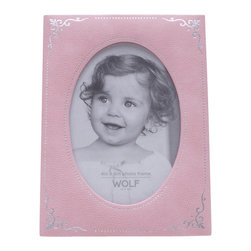 WOLF - Vintage Baby Photo Frame, Pink - A distinctive, timeless look for your desk or mantlepiece. This baby photo frame is beautifully constructed in a matte pink pebbled faux leather, accented with silver stamped foil ornamentation.