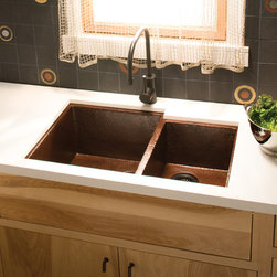 Cocina Duet Copper Kitchen Sink by Native Trails - The practical and attractive copper kitchen sink with a bit of geometric appeal, Cocina Duet is a shoo-in. Two sink wells accommodate a variety of kitchen tasks, offering ease of prep and cleanup. And to add variety to its impressive resume, Cocina Duet is available in Antique or hand-dipped Brushed Nickel finish.