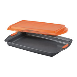 Rachael Ray - Rachael Ray Grey/ Orange Nonstick Bakeware 10-inch by 15-inch Covered Cookie Pan - Bake up yummy treats and other foods and take 'em on the road,with the Rachael Ray Bakeware Nonstick Covered Cookie Pan. The long-lasting,nonstick pan offers excellent food release and,without the lid,is oven safe to 450 degrees.