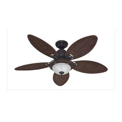 Hunter - Hunter 54095 Caribbean Breeze 54 In. Weathered Bronze Ceiling Fan - A unique take on traditional classic, this ceiling fan from our Caribbean Breeze Collection: adds a tropical focal point to any living room, master bedroom, or other large room. The ceiling fan features a weathered bronze finish and five 54-inch antique dark wicker blades that infuse a sense of good living into any setting. In addition to its beautiful craftsmanship, the ceiling fan offers reliable operation and cost savings throughout the year. Use it to create a cooling breeze in the summer or to circulate warm air in the winter. The ceiling fan's AVT hanging system makes installation a snap, even for the most novice do-it-yourselfer, while its Installer's Choice three-position mounting system allows for hanging the fan in a standard, flush, or angled position. The ceiling fan also offers three speed settings, whisper-quiet performance and smooth-running operation thanks to its Whisper Wind motor. Also included is an optional wicker bowl light fixture, which uses two 60-watt candelabra bulbs (included).