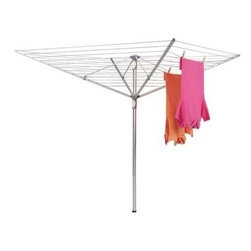 Household Essentials - Aluminum Umbrella Dryer - Extra Large, Blue - Enjoy the freshness of drying your clothes in sunshine and breezes, take in the day, and save a little in your pocketbook with the help of the Umbrella Dryer. Featuring dual-handle adjustment, you can cater your umbrella to precisely the height and tension you desire. So take a step back in time and hang your laundry like Grandma reap the benefits in spirit and lower utility bills.