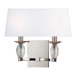 Hudson Valley Lighting - Hudson Valley Lighting Cameron Transitional Wall Sconce X-NP-2164 - Like jewelry for your walls, Cameron's crystal gems create spectacular decorative accents. The eye-catching oblong crystal refracts light across a brilliant array of cut facets. Rounded fabric shades add a smooth finishing touch to these exquisitely designed sconces.
